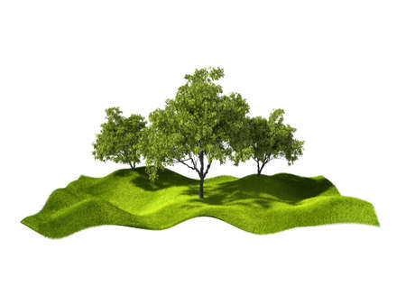 island with tree floating in the air. Isolate on white background