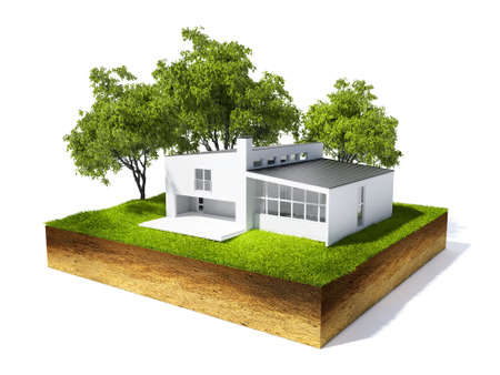 地面と草白で隔離が付いている家の断面の 3 d イラストレーション 写真素材