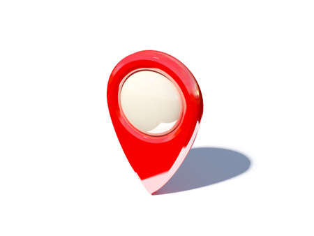 blank center: map pointer with blank center isolated on white background, three-dimensional rendering