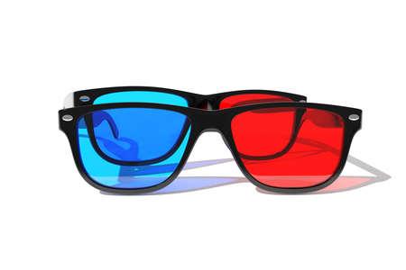 blockbuster: 3d glasses isolated on white background Stock Photo