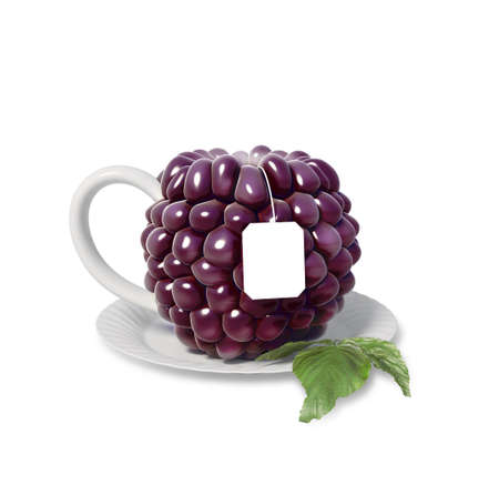 blackberry: blackberry tea cup isolated on white background