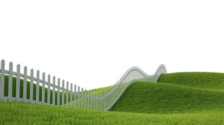 草やフェンスの 3 D レンダリングを理想主義的な風景 写真素材