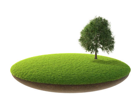 罰金の小さな島。陸と空での作品。空の芝生。 写真素材