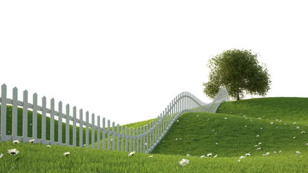 idealistic: Idealistic landscape with grass and fence 3D render