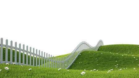 Idealistic landscape with grass and fence 3D render