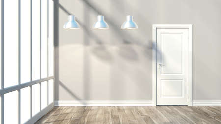 render empty room modern interior with door