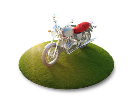 iron fun: Conceptual image of a motorcycle on a flying island