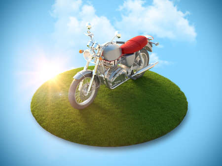 conceptual image: Conceptual image of a motorcycle on a flying island