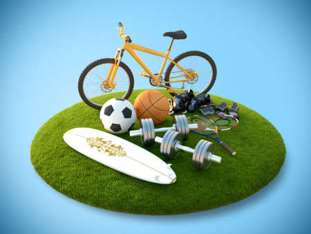 Sports equipment lies with the flying island