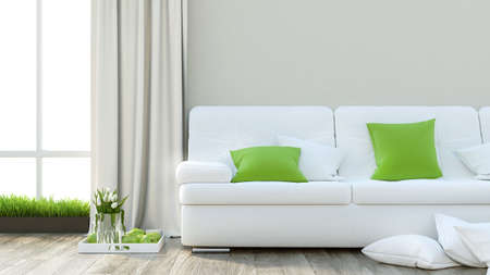 Render modern interior with sofa and a large window