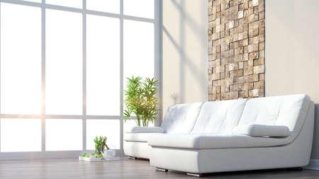 ソファのモダンなインテリアと大きな窓をレンダリングします。