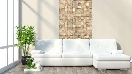 ソファと大きな窓間の現代的なレンダリング