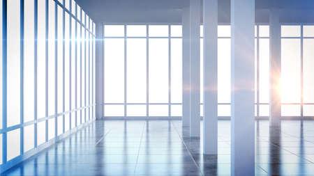 大きな窓とモダンな空インテリア室をレンダリングします。