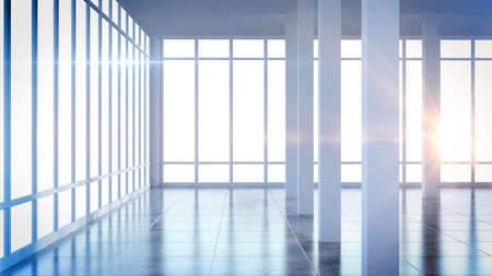 Render modern empty interior office room with large windows Stok Fotoğraf