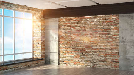 empty space: Modern empty interior in the loft style 3D rendering Stock Photo