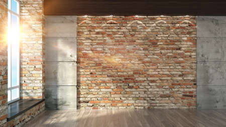 Modern empty interior in the loft style 3D rendering Banque d'images