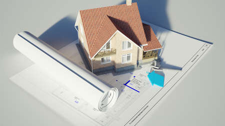 Conceptual image of a house standing on the blueprints 3D renreding