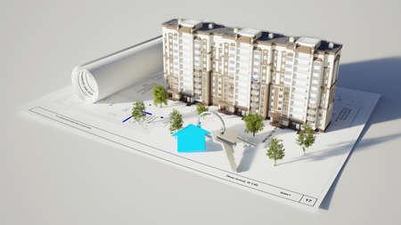 白い背景の上の家とキーを構築概念のイメージ
