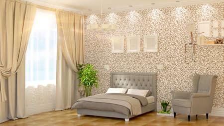 modern bedroom: Modern bedroom Interior  with armchair 3D rendering
