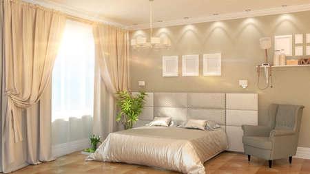 アームチェア 3 D レンダリングとモダンなベッドルームのインテリア