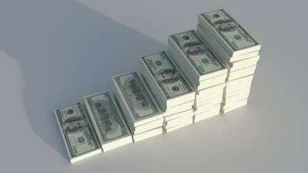 rising prices: conceptual image of dollars, symbolizing the rising prices Stock Photo