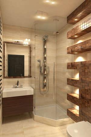 Modern bathroom Interior with shower 3D rendering