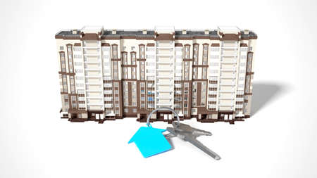plotter: 3D rendering conceptual image house and keys on white background Stock Photo