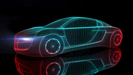 Car from the future isolated background 3D rendering Reklamní fotografie - 42085021