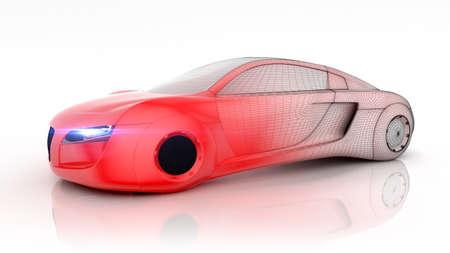 将来独立した背景の 3 D レンダリングから車