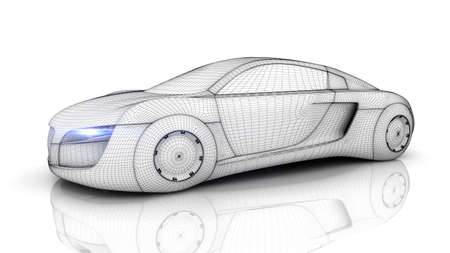 and the future: Car from the future isolated background 3D rendering