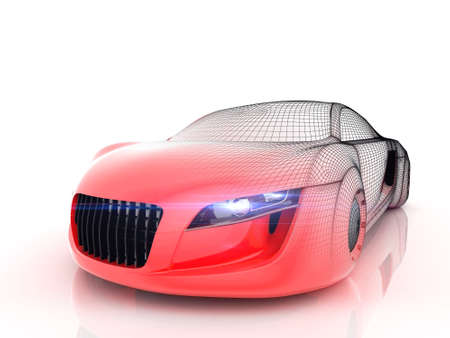 Car from the future isolated background 3D rendering