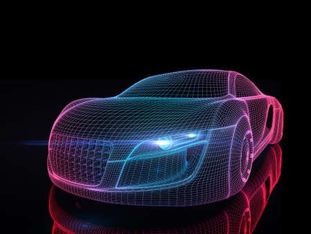 Auto van de toekomst geïsoleerde achtergrond 3D rendering