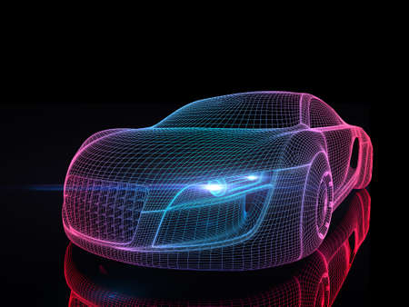 Car from the future isolated background 3D rendering Reklamní fotografie - 42085061