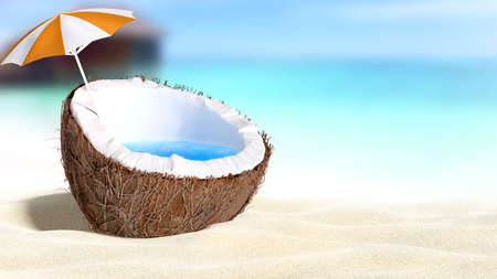 blue hawaiian drink: chopped coconut on sea-beach background 3D rendering