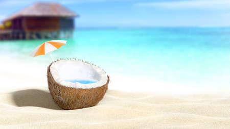 海ビーチ背景 3 D レンダリングに刻んだココナッツ