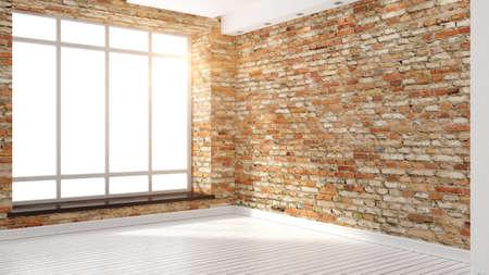 Modern empty interior in the loft style 3D rendering Stok Fotoğraf