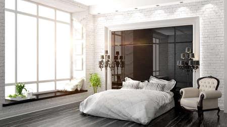 chambre à coucher: bel intérieur d'une chambre moderne dans l'art déco rendu 3D de style Banque d'images