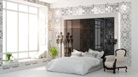 アールデコ スタイルの 3 D レンダリングで美しいモダンなベッドルームのインテリア