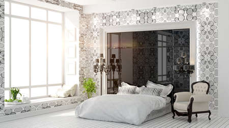Light room interior with comfortable bed royalty vrije foto
