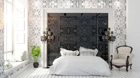 Lichte en moderne slaapkamer met een prachtig blauw boeket en