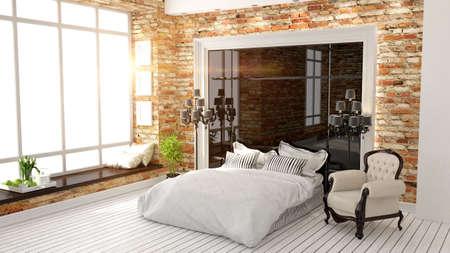 bedroom: beautiful modern bedroom interior in art Deco style 3D rendering