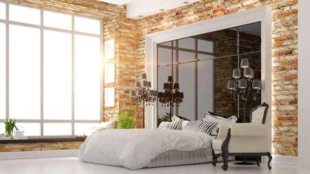 ceiling lamp: beautiful modern bedroom interior in art Deco style 3D rendering