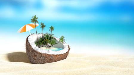de coco picado en el mar-playa de fondo Representación 3D