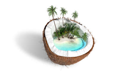 chopped coconut on white background 3D rendering