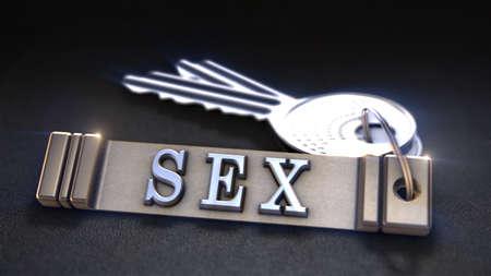sex education: Sex Concept. Keys with Keyring. 3D rendering