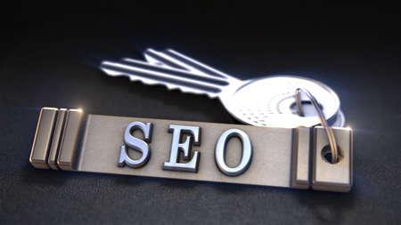 keywords link: SEO Concept. Keys with Keyring. 3D rendering
