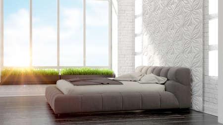 beautiful modern bedroom interior in art Deco style 3D rendering Reklamní fotografie - 42288554