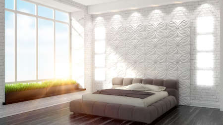 master bedroom: beautiful modern bedroom interior in art Deco style 3D rendering