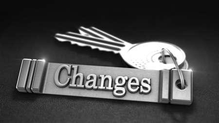 keyring: Changes Concept. Keys with Keyring. 3D rendering
