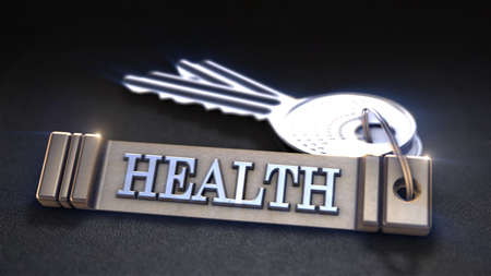 keyring: Health Concept. Keys with Keyring. 3D rendering Stock Photo